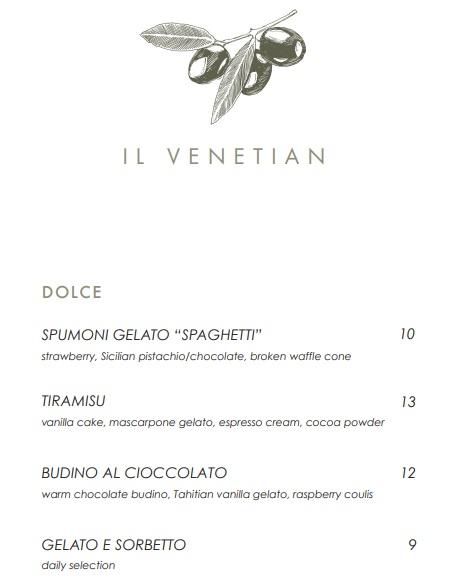 Il Venetian Dessert Menu