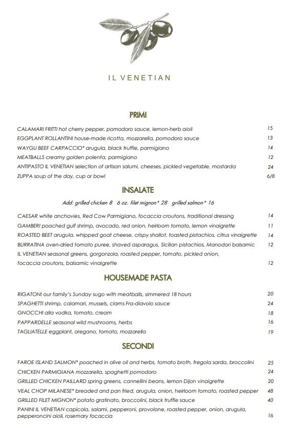 Il Venetian Lunch Menu