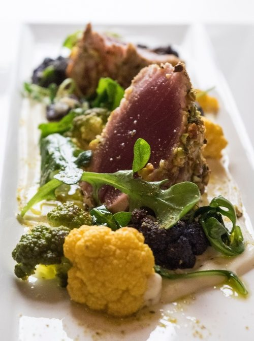 Pistachio crusted yellowfin tuna